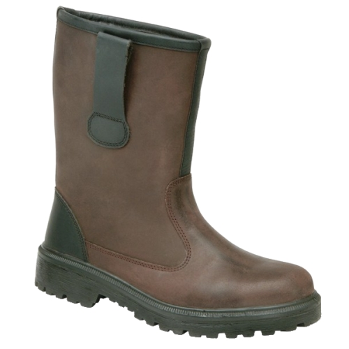Fur lined rigger boot with antistatic sole