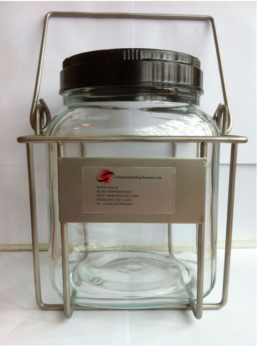 Wide neck glass fuel sample jar with screw on leak proof lid & wire cage